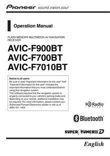 pioneer - gps - AVIC F7010 BT - Operation Manual : Free Download ...